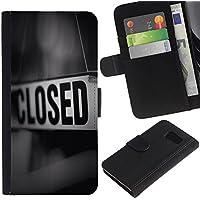GIFT CHOICE / Smartphone Portafoglio in pelle Caso Cover protettiva Cassa Custodia per Samsung Galaxy S6 // Segno chiuso Conservare Messaggio Nero Bianco //