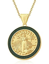 "Silvernshine 1.35 Ct Round Green Garnet Liberty Coin Pendant 18"" Chain In 14K Yellow Gold Fn"