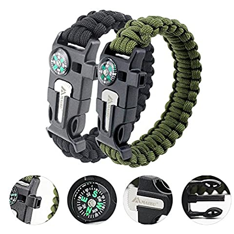 MAIBU Multifunktions Paracord Armband Survival Gear Kit mit eingebautem Kompass,