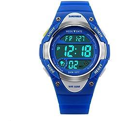 Hiwatch Kinder Sportuhr 50 Meter Wasserdichte LED Digitaluhr für Jungen Blau