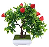 #9: Discount4product Artificial Flowers Artificial Plant Trees Bonsai with Pot Home Decors Vases Decoration Fruit-Strawberry-VS24