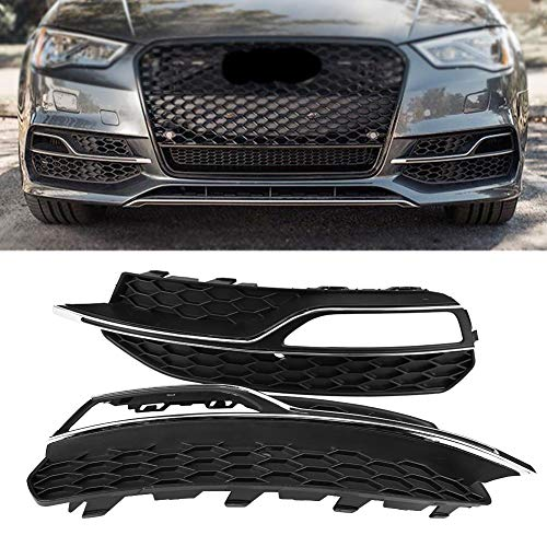 Para Parrillas Delanteras Antiniebla Delanteras de Estilo S3, Negro Brillante para Audi A3 S-Line 8V 2013-2016 por Delaman
