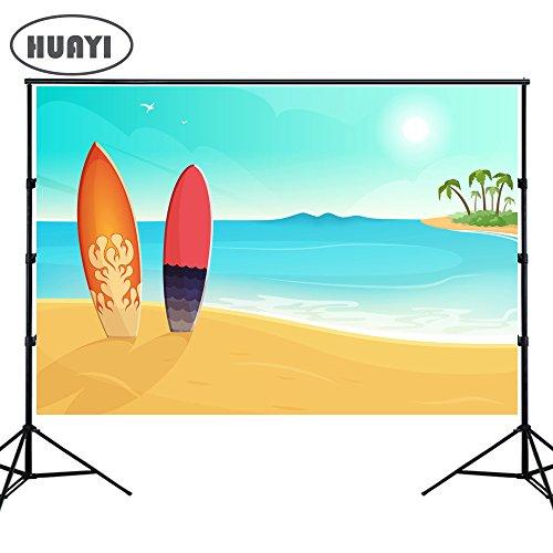 (HUAYI Fotohintergrund, Sommersonnenschein, natürlicher Strand, Meer, Party-Hintergrund, Blauer Himmel, Palme, Foto-Hintergrund für Bilder Baby-Party)