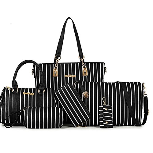 LI&HI Damen fashion vintage elegant Leder Streifen Tote Tasche Schulterbeutel Umhängetaschen Abendtaschen Clutch (A set of 6 ) schwarz