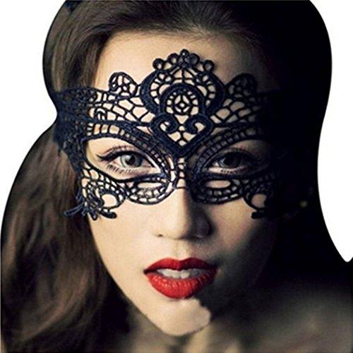 VENI MASEE Frauen Sexy Fancy Lace Augen Maske für Maskerade Party Halloween (Schwarz) (Frauen Maskerade Maske)
