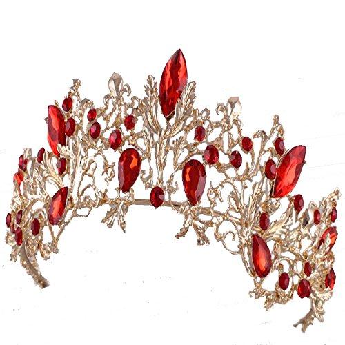 Gold verlässt Barock Vintage Hochzeit Braut Crown Tiara Braut Haar Kopfschmuck rot