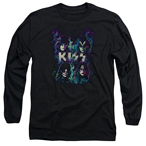 Kiss - Herren-Bunte Fier Langarm-T-Shirt Black