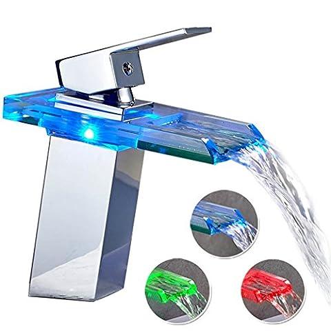 Auralum® Mitigeur Lavabo Robinetterie LED RVB Cascade pour Vasque de Salle de Bain en Laiton Chromé et Verre