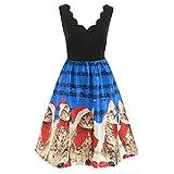 LoveLeiter Damen äRmellose Weinlese Kleid Damen Weihnachten Schneemann Festliches Partykleider Petticoat Frauen RüCkenfrei Minikleid Abendkleid Kleid Mesh Kleidung(Blau,M)