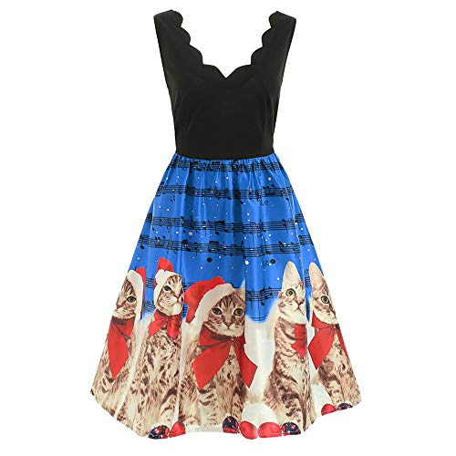 DOGZI Vestido,Mujer Retro Navidad Gato Nota Musical impresión Sin Mangas Vestido Falda Vendimia Vestido de Bengala