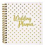 [Nouveau] Agenda de mariage – Livre de planification de mariage et journal de l'organisation, cadeau de fiançailles, calendrier de compte à rebours Blanc/doré