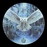 Glas Wanduhr mit Eule | Awaken your Magic von Anne Stokes | Deko Uhr Motiv Magie Hexe