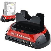 Tccmebius TCC-S862-DE USB 2.0 a IDE SATA Bahía Dual HDD Disco Duro Estación de Acoplamiento con Lector de Tarjetas y Hub USB 2.0 para 2.5 3.5 Pulgadas IDE SATA I / II / III HDD SSD