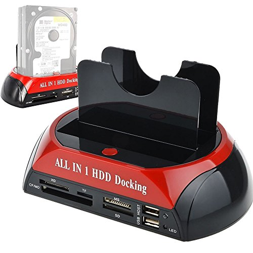 Tccmebius TCC-S862-DE USB 2.0 zu SATA IDE Dual-Bay HDD Festplatte Docking-Station mit Kartenleser und USB 2.0-Hub für 2.5 3.5 Zoll IDE SATA I / II / III HDD SSD