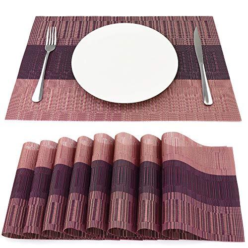 Sueh design tovagliette americane pvc 45 x 30cm set 8 pezzi rosa