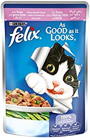 Purina Felix As Good as it Looks with Trout and Green Bean Wet Cat Food Pouch, 100 gm