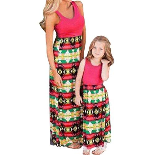 Goodsatar Mutter Tochter Ärmellose Gedruckte kleid Beiläufige Familie Kleidung Mädchen Kleid (38-40, Mutter)