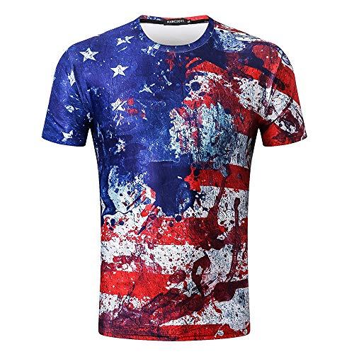 Die Mode Der Männer The Old Glory Splash Tinte 3D Druckhülse T Shirt Bluse Tops Honestyi 3D Amerikanische Flagge Splash Print Digitaldruck Rundhals(Blau,L)