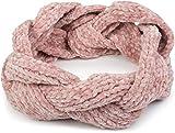 styleBREAKER Damen Chenille Strick Stirnband Geflochten, Haarband, Headband 04026032, Farbe:Rose