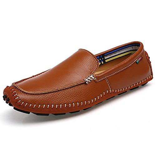 Herren Slipper Casual Mokassins Elegant Leder Schuhe Mode Business Loafers Bootsschuhe Flach Halbschuhe Braun