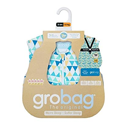 GRO AAA 5576Capri Zig Zag Travel Sacos de dormir grobag, 1.0tog, 3–6Years, color azul