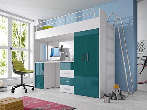 Furnistad Kinderzimmer Komplett Smart | Kinder Hochbett mit Leiter, Schreibtisch und Schrank (Option rechts, Weiß + Türkis)