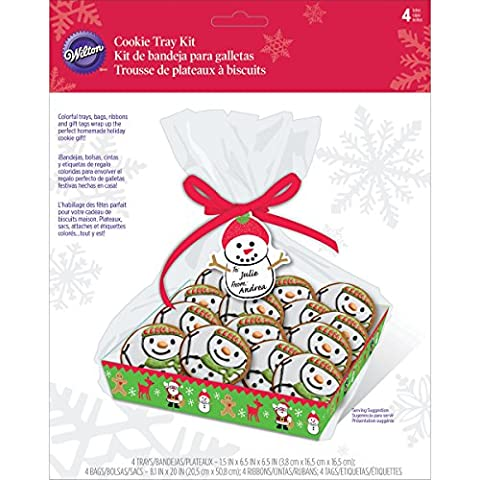 Wilton Natale biscotto Gifting Vassoi, 4-Count, Multicolore, confezione da 4