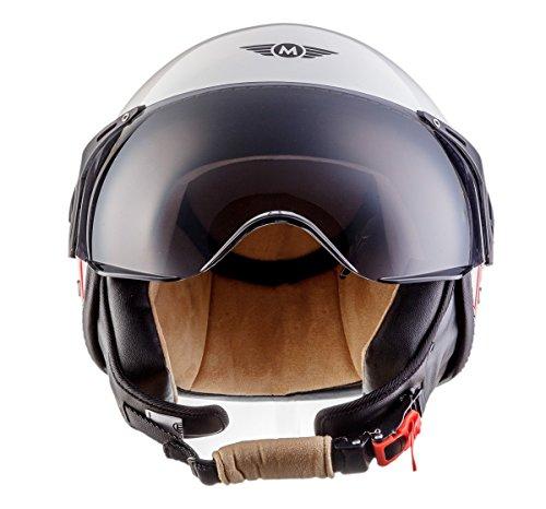 Moto Helmets H44 Italy · Retro Roller-Helm Vintage Mofa Jet-Helm Pilot Chopper Vespa-Helm Moto Helmetsrrad-Helm Scooter-Helm Biker Bobber Cruiser Helmet · ECE zertifiziert · inkl. Sonnenvisier · inkl. Stofftragetasche · Weiß · S (55-56cm) - 4