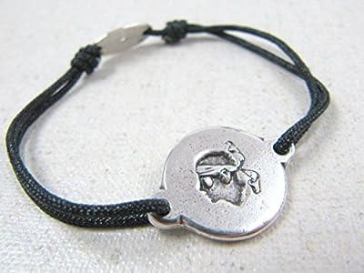 """Bracelet cordon tréssé """"Corse"""" 16mm finition argent 925"""