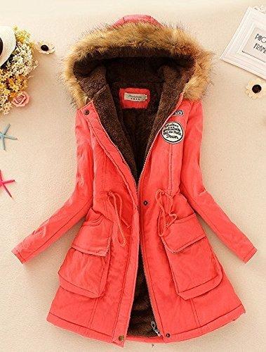 Babyonline® Damen Parka Winter Herbst Jacke Kapuzen Fleecejacket Trenchcoat Mantel Übergangsjacke Wassermelone Rot
