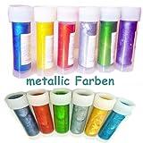 Metallic Farben Set 6 x 12ml Lebensmittelfarben Speisefarbe Gel