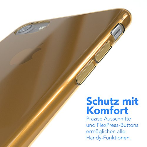 "EAZY CASE Handyhülle für Apple iPhone 8, iPhone 7 Hülle - Premium Handy Schutzhülle Slimcover ""Clear"" - Transparentes Silikon Backcover in in Klar / Durchsichtig Gold"