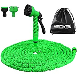 Vegkey Tuyau d'arrosage Flexible et Extensible,100 Feet 30m Tuyau d'arrosage Extensible Rétractable avec 8 Fonction Pistolet Haute Pression (Green)