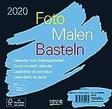 Foto-Malen-Basteln Bastelkalender schwarz quer 2020: Fotokalender zum Selbstgestalten. Do-it-yourself Kalender mit festem Fotokarton. Format: 16 x 15,5 cm -