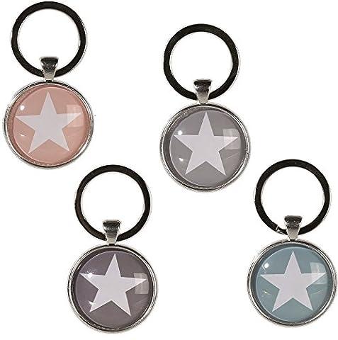 Bada Bing 4er Set Schlüsselanhänger Stern silber grau taupe rosa blau rund Star