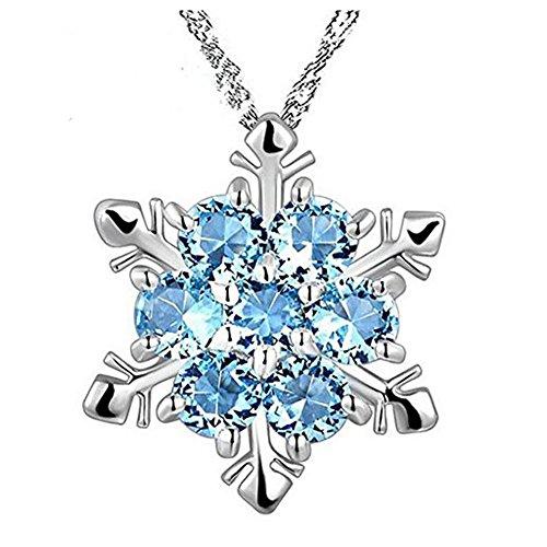 Westeng Frauen-Halskette glänzende Saphir-Kristallschneeflocke-Verzierung Valentinstag (Computer Fällen Für Teenager-mädchen)