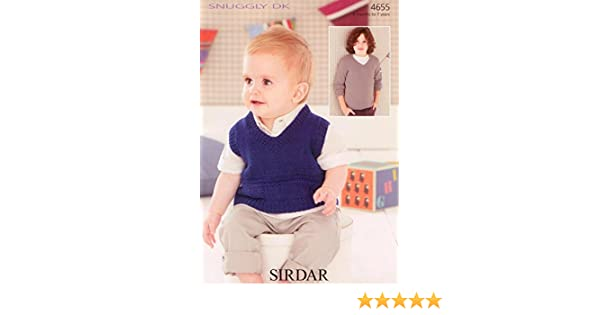 a348538f0 Sirdar 4655 Knitting Pattern Baby   Boys Tank and Sweater to knit in Sirdar  Snuggly DK  Amazon.co.uk  Kitchen   Home