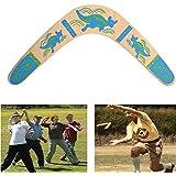 Boomerang en Bois en Forme V Angle Ouvert 100 Degrés Boomerang Classique Jouet Retour en Plein Air en Peinture de Kangourou