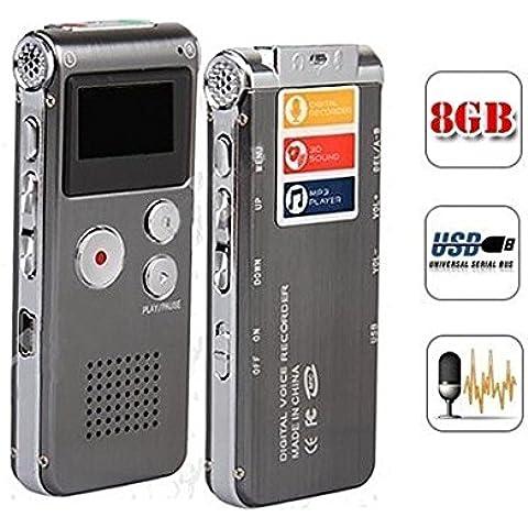 Vicloon 8GB Registratore Digitale Vocale / Voice Recorder - con Funzione MP3 e USB 2.0 ad Alta Velocità Grigio - Perfetto per la Registrazione Interviste e Incontri
