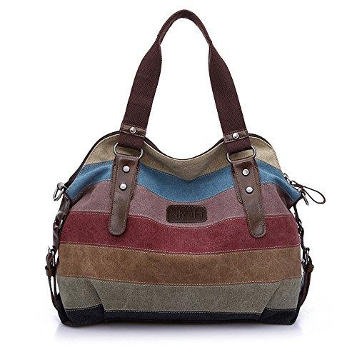 Nlyefa Damen Canvas Tasche Handtasche / Umhängetasche groß, Canvas Schultertasche Hobo Bags für Schule Büro Reise Shopping Multi-Color-Striped (Damen Color Handtasche Multi)