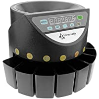 PrimeMatik - Contador de Monedas con clasificador automático para Euro DB360 Negro