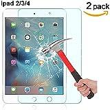 ACENIX® [2–Pack] HD-Clear, antiarañazos, antirreflejos, antihuellas, vidrio templado Protector de pantalla para iPad 2/iPad 3/iPad 4, de Por Vida garantía de sustitución