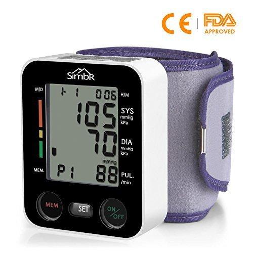 SIMBR Misuratore di Pressione da Polso Digitale per Uso Domestico Completamente Automatico e Precisione,Monitor della Pressione Arteriosa con 180 Memorie per 2 Utenti, Portatile,Certifica CE/ROHS/FDA