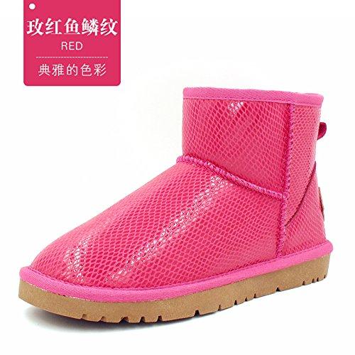 FLYRCX Unione semplice Winter Snow Boots impermeabile antiscivolo per tubo corto con dense e calde scarpe scamosciate I