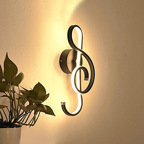 22W Modern Design schönem Musik Symbole LED Wandleuchte Innen minimalistische Wandlampe Dimmbar Wandbeleuchtung Creative Innenleuchten Aluminium Leuchten Dekoration in Korridor loft Schlafzimmer (Schwarz)
