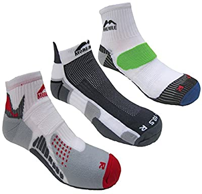 More Mile Mens London, Miami & San Diego Cushioned Running Socks (3 Pair Pack)