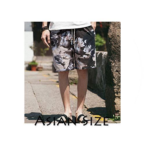 Summer Shorts Cotton 5XL Men Colorful Mens Streetwear Hip Hop Casual Sweat Shorts Male Knee Length Shorts,ShuiMoHua(AsianSize),M