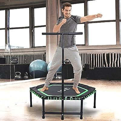 ISE Fitness Trampolin für das Haus, den Garten oder den Fitnessraum mit verstellbarer Haltestange - SY-1105-OR von ISE