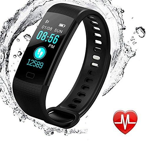 elecfan Fitness Armband Blutdruckmonitor, Wasserdicht IP67 Tracker Aktivitätstracker Bluetooth Smart Armbanduhren Smartwatches mit Schlafmonitor Kalorienzähler mit iPhone Android Handy - Schwarz