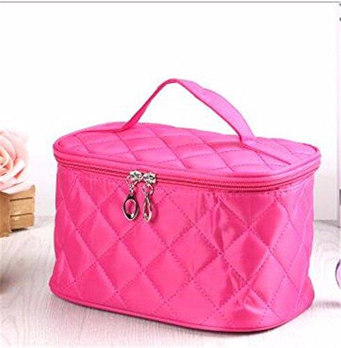 KAFEI Sac portatif petit losange cosmétique pliable imperméable, rose rouge (Petite Nylon Baumwolle)